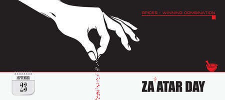 Post card for event September day Zaatar Day 向量圖像