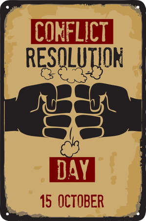 Old vintage sign to the date - Conflict Resolution Day. Vector illustration for the holiday and event in october.