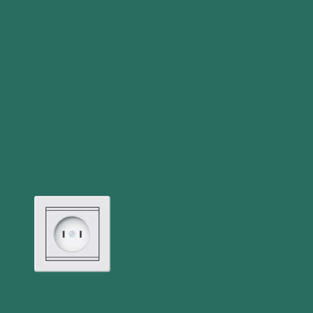Wall mounted socket in classic version. Vector illustration.