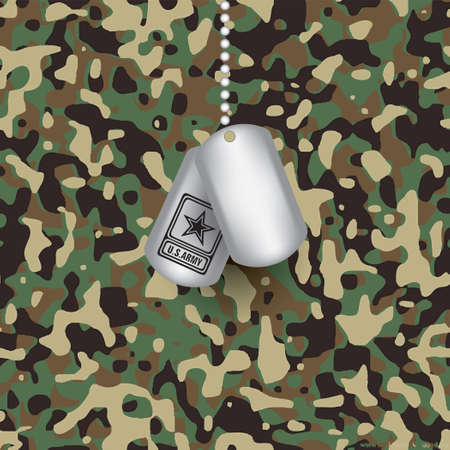 Army camouflage fabric and military tag with the us army symbol