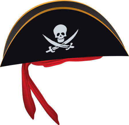 Pirate hat with red headband and skull Vettoriali