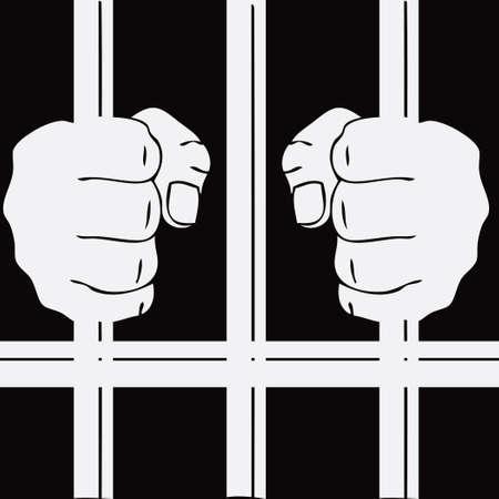 Hands of a prisoner on the prison bars. Vector illustration