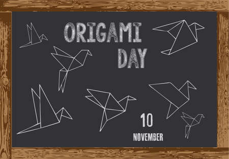 Chalk board with wooden frame for date Origami Day