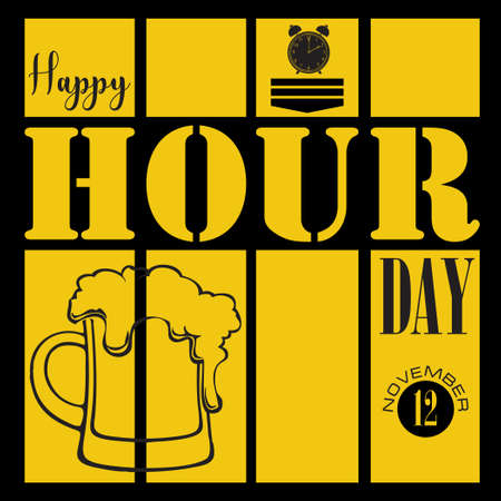 Happy Hour Day November event poster. Vector illustration
