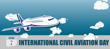 Post card for event december day International Civil Aviation Day  イラスト・ベクター素材
