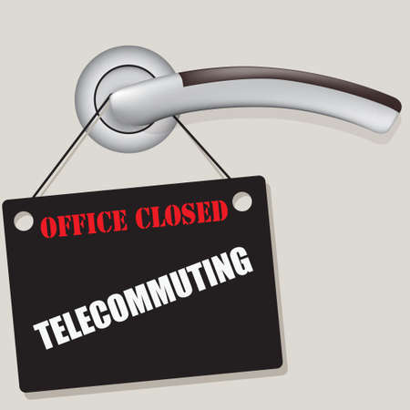 Office closed - Telecommuting due to pandemic. Notice on the office door handle