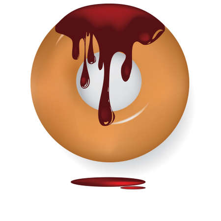 Dripping sweet glaze over pastry. Vector illustration.