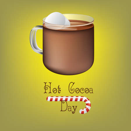 A cup of hot cocoa for Hot Cocoa Day. Vector illustration.