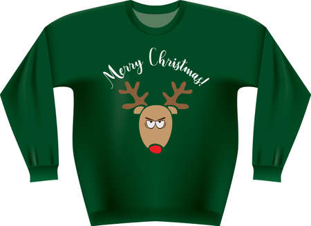Traditional Christmas sweater for Ugly Christmas Sweater. Vector illustration. 向量圖像