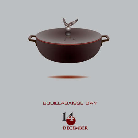 Bouillabaisse Day is celebrated in December. Pot for preparing this dish 向量圖像