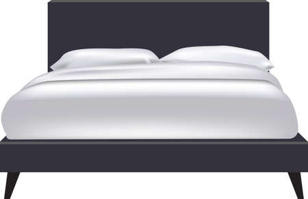 King size bed with duvet and pillows 向量圖像