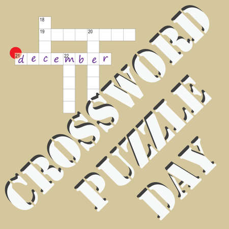 Poster for the date of Crossword Puzzle Day, the event is celebrated in December. 向量圖像