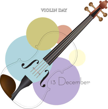 Popular Musical Instrument Day Violin Day. Vector illustration.