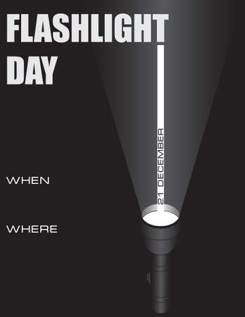 Day reminder of the date Flashlight Day, reading books under the covers with a flashlight. 向量圖像