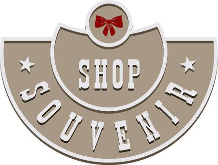 Street sign style souvenir shop label. Vector illustration. 向量圖像