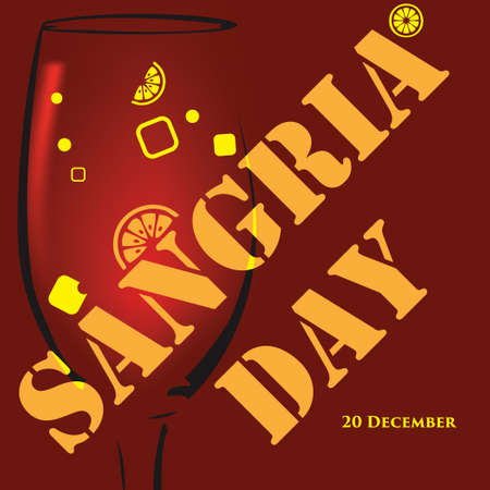 Poster for the date of Sangria Day, a celebration of an alcoholic drink made from wine, water and fruit 向量圖像