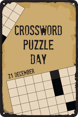 Old vintage sign to the date - Crossword Puzzle Day. Vector illustration for the holiday and event in december. 向量圖像