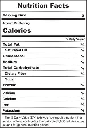 Basic label with information about nutrition for cheese