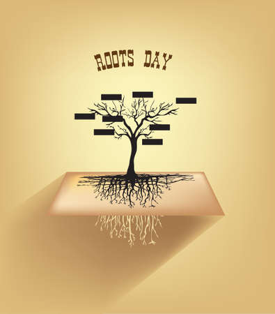 Classic tree without leaves with root system for Roots Day