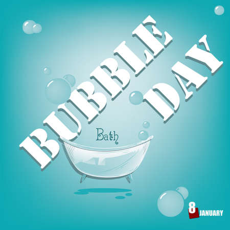 January holiday event - Bubble Bath Day. Vector illustration.