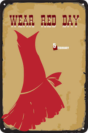 Old vintage sign to the date - Wear Red Day. Vector illustration for the holiday and event in february. Çizim