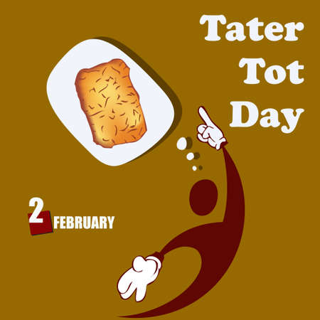 Invitation to the national cuisine holiday in the USA - Tater Tot Day Çizim