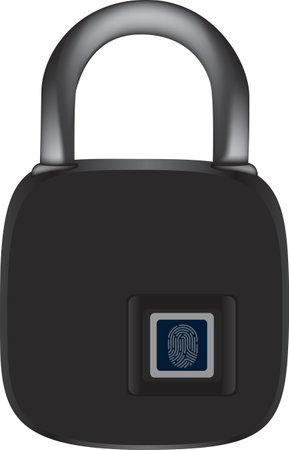 Smart fingerprint padlock with an attachment bar. Vector illustration