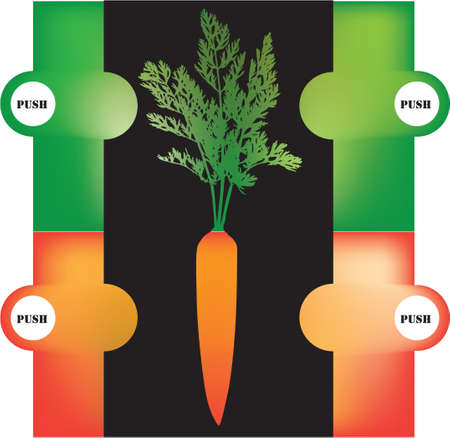 Color selection options for carrots illustration - tops and root