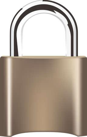 Sturdy brass padlock with an attachment bar. Vector illustration Çizim