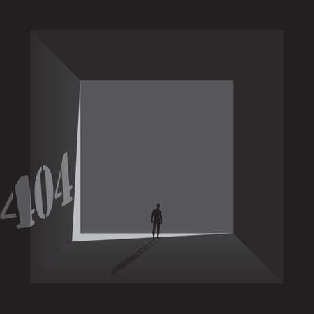 Page 404 error design with human outline in tunnel 矢量图像