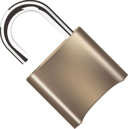 Brass padlock with open shackle. Vector illustration