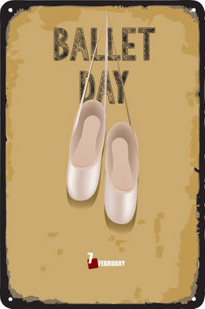 Ballet pointe shoes on the plate for the Ballet Day date Çizim