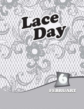 Poster Lace Day.Vector illustration for a holiday date in February Çizim