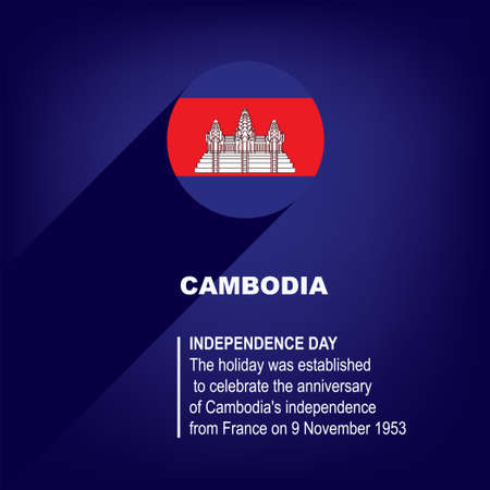 National Holiday in Cambodia - Independence Day Çizim