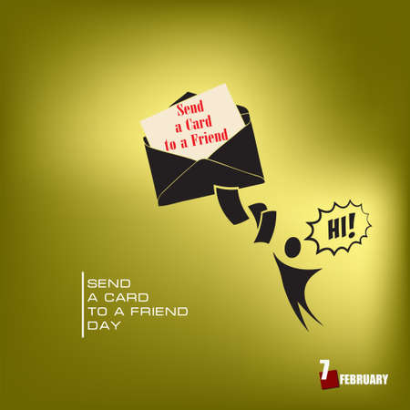 A day in February dedicated to friendship - Send a Card to a Friend Day Çizim