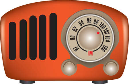 Old style radio with dial setting. Vector illustration.