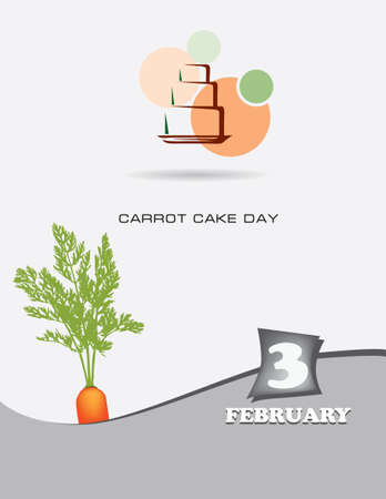 Poster Carrot Cake Day.Vector illustration for a holiday date in February Çizim