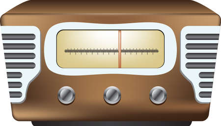 An old style stationary large radio receiver with speakers and tuning knobs. Vector illustration. Çizim
