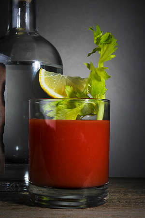 Bloody Mary cocktail with celery and lemon