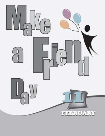 Poster Make a Friend Day. Vector illustration for a holiday date in February Çizim