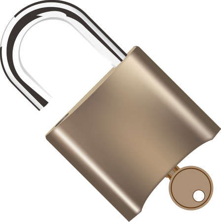 Padlock with key in the lock. Vector illustration Çizim
