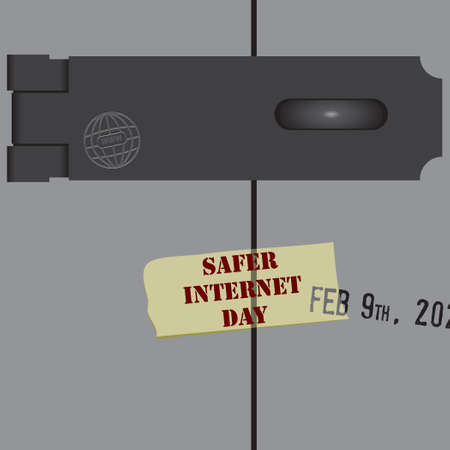Date dedicated to internet security, in February - Safer Internet Day Çizim