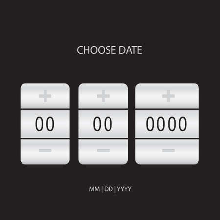 Poster with an electronic calendar - information Choose a date. Vector illustration.