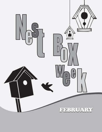 Poster Nest Box Week.Vector illustration for a holiday in February