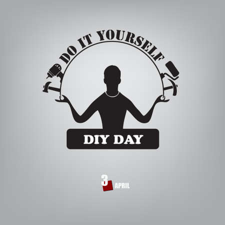 The calendar event is celebrated in april - do it yourself day. Vector