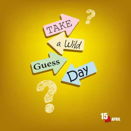 The calendar event is celebrated in april - Take A Wild Guess Day Vektoros illusztráció