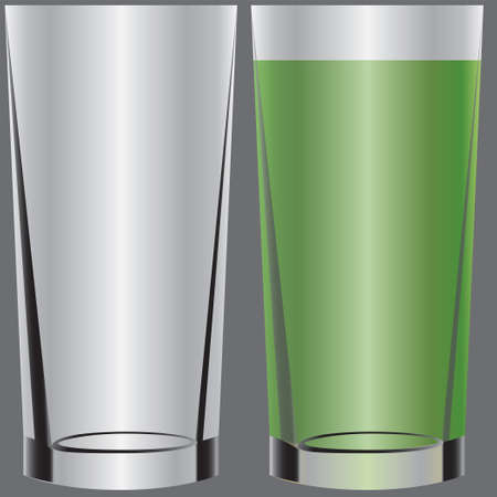 Glasses are empty and full. Vector illustration for decoration works.