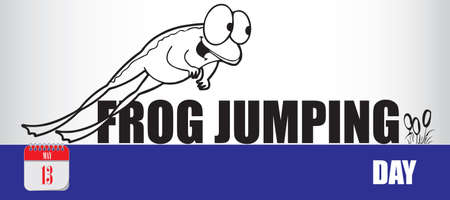 Card for event may day Frog Jumping Day Çizim