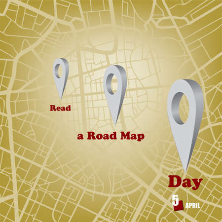 The calendar event is celebrated in april - Read a Road Map Day Çizim