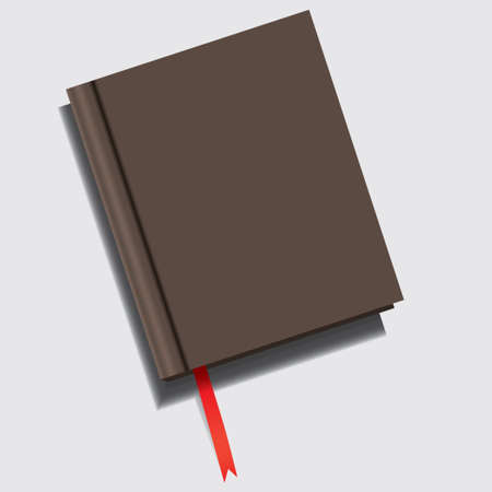 Closed book with a red ribbon-shaped bookmark